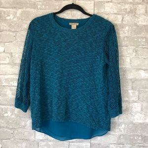 Lucky Brand Sweater Lace & Chiffon Small